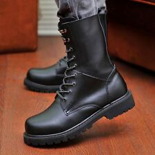 Men's combat military boots lace up leather biker work casual work chukka shoes