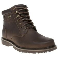 New Mens Rockport Brown Pt Mid Leather Boots Lace Up