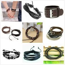 Black/Brown Leather Bracelet Wristband Bangle Braided Mulit Layer Hippy