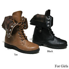 New Girls Lace Up Flannel Fold Over Cuff Military Combat Kid Boots Size 10-4
