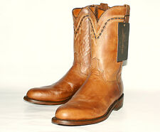 Mad Dog Goat Leather Roper Lucchese Men's T0121 Tan Burnished  Western Boots