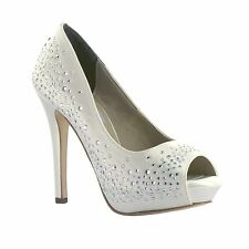 "NEW 2015 Carolyn Dyeable White Satin AB Rhinestone Prom Bridal 4"" High Heel Shoe"