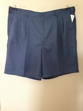 NWT MENS HAGGAR BIG & TALL BLUE PLEATED FRONT SHORTS W/ ELASTIC SIDE WAIST