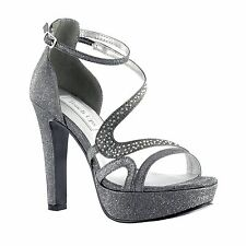 Breeze by Touch Ups Pewter Platform Heel Bride Bridal Bridesmaid Prom Shoes