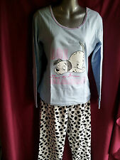LADIES 101 DALMATIONS PYJAMA SET, COTTON TOP & FLEECE BOTTOMS BNWT