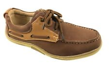 MENS FASHION DECK SHOES LEATHER INSOLE LACE UP BROWN TAN SIZE 7-12 NEW