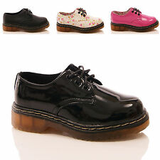 GIRLS KIDS SHOES LACE UP CHUNKY PUMPS PATENT FLORAL FAUX LEATHER FASHION SIZE