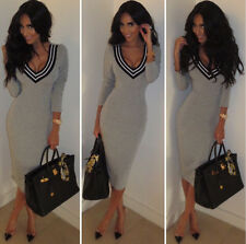 Womens V neck knit long sweater Party Club dress Celebrity Sexy