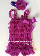 baby girl lace romper Girl Posh Petti Ruffle Romper headband some with sash