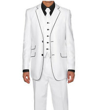 Men's 3pc Slim Fit Wool Feel Two Button Suit w/ Matching Vest 5702V1 White
