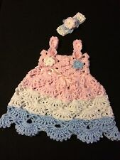 Handmade Crocheted Baby Set Outfit 2pc Dress Headband Pink White Blue 12-18-24 M