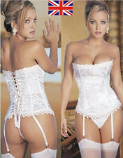 Hot Sexy Lady Lace Up Boned Bustier Corset Dress Basques+Garters+G-string S-3XL