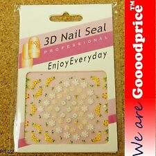 3D Nail Art Seal Beautiful Flowers Nail/Toe Stickers Pack Party&Ladies Gift 1-22