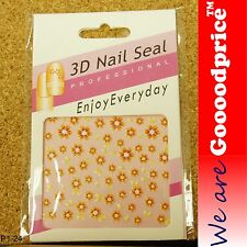 3D Nail Art Seal Beautiful Flowers Nail/Toe Stickers Pack Party&Ladies Gift 1-24