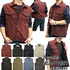Men's NEW Premium Raw Denim Color Vest casual Jacket JEAN VEST Size M-3XL