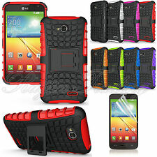 LG Ultimate 2 L41C TPU Rugged Hybrid Dual Layer Stand Case Skin Cover Tough slim