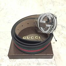 NWT Authentic Gucci Men's Black, Red, Green Leather Web Stripe Belt 114984 H17AR