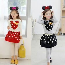 Baby Girl Mouse Dress, Kid Cartoon Top+Skirt Party Minnie Mickey Dress 1-6 T 2 P