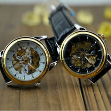 Retro Mens Skeleton Leather Hand-winding Manually Mechanical Dress Wrist Watch