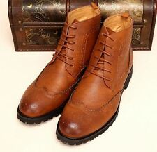 British Mens casual oxford Brogue chukka wingtip side  zip High top ankle Boots