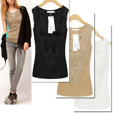 Women Sexy Lace Collar Embroidery Tank Top Vest Sleeveless T-Shirt Sexy Blouse