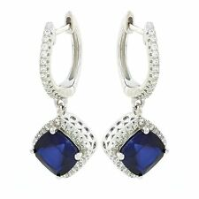 925 Sterling Silver huggie earrings with lab created sapphire and /or CZ