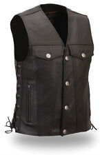 Mens Leather Vest Black FMC Solid Buffalo Nickel Snaps FIM616CFD The Rushmore