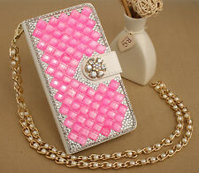 Bling Stand Flip Wallet PU Leather Case Cover with Metal Chain F Vary LG Phones