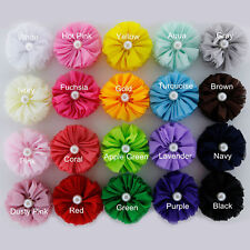 Girls Chiffon Pearl Hair Clips Alligator Flower Girl Accessories 13 COLOURS