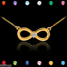 14K Gold Infinity CZ Birthstone Necklace (Made in USA)