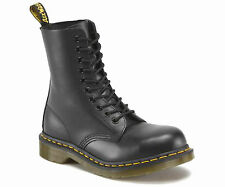 DR.MARTENS /1919 BLACK LEATHER FASHION STEEL / 10 EYE BOOT -SIZE  4-12 U.K.