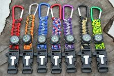 Paracord Bracelet Keychain w/ Flint Fire Starter/Compass/Whistle. Camping *USA*