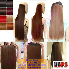 Deluxe 100% Real Good Clip In Remy Human Hair Extensions One Piece US STOCK F200