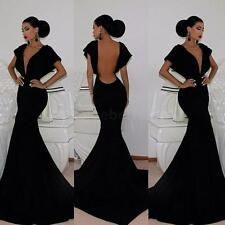 New Women Lady Deep V Neck Backless Bat Sleeve Cocktail Evening Party Gown Dress