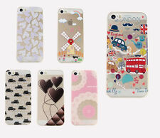 2015 Fashion 3D Pictorial Hard PC Clear Fitted Case for Apple iPhone 5 5S