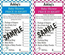 Baby Shower *The Price is Right* Game. 10 Cards Per Order. Blue or Pink.