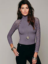 NEW Free People Intimately Graphite Rib and Lace Turtleneck Size XS/S-M/L $48