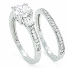 .925 silver round or princess cut simulated diamond engagement wedding ring set