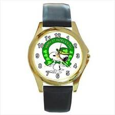 SNOOPY ST. PATRICK'S DAY GOLD OR SILVER TONE WATCH  6 STYLES