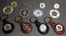 UNITED STATES MARSHAL  LEATHER KEY RINGS &  BADGES  + FREE U.S. MARSHAL STICKERS