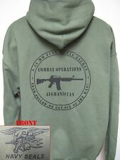 NAVY SEAL HOODED SWEATSHIRT/ AFGHANISTAN COMBAT OPS/ OD GREEN/ VETERAN/  NEW