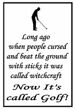 "funny "" LONG AGO WHEN PEOPLE CURSED "" METAL SIGN PLAQUE for golfer / golf club"