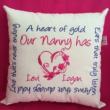 Handmade personalised embroidered cushion MOTHERS DAY mum mummy Unique