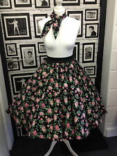 50s Style Rock & Roll Grease Circle Skirt Black Floral Print Rockabilly