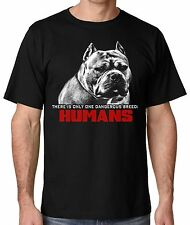 Ban Stupid Humans not Dogs Pit Bull Men's Black T shirt from small thru 5x