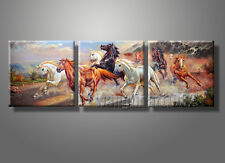 3PC Modern Horse Running Oil Painting Printing on Canvas Large Abstract Art Deco