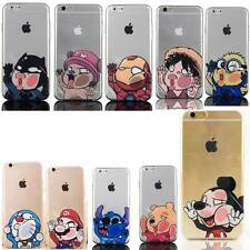 Hot Cartoon Overfilled Window Clear Rubber PC Back Case For iPhone 5S / 6 / Plus