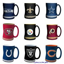 NEW NFL BOELTER SCULPTED CERAMIC RELIEF COFFEE MUG SELECT YOUR TEAM