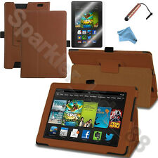 PU Leather Folio Case Cover Stand For Amazon Kindle Fire HD +Accessories Bundle