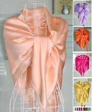 "Womens Ladies 100% Silk Charmeuse Square Scarf Shawl 44""x44"" 30 colors"